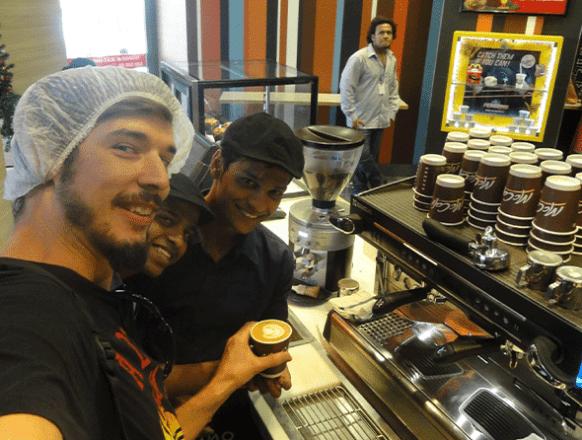 Makingvcoffee in McDonald's