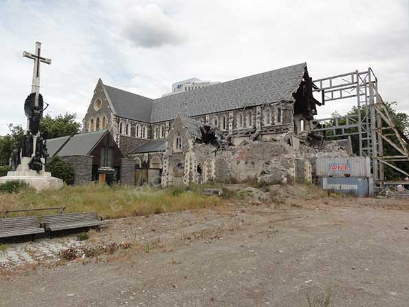 Christchurch cathedral showing the sad story of an earthquake in 2010