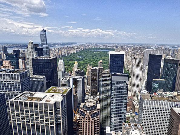 The view over Central park from the Top of the Rock